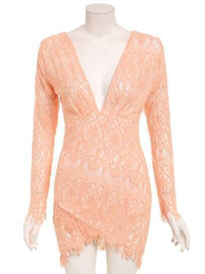 Deep V-Neck Asymmetric Lace Dress