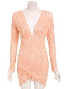 Deep V-Neck Asymmetric Lace Dress