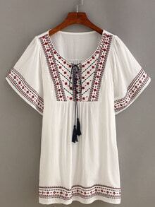 Embroidery Tassel-Tie Peasant Dress