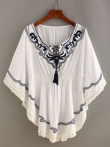 Embroidery Tassel-Tie Crochet Trimmed Poncho Dress