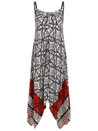 Tribal Print Asymmetric Cami Dress
