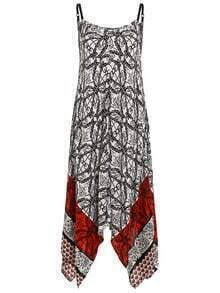 Tribal Print Asymmetric Cami Dress
