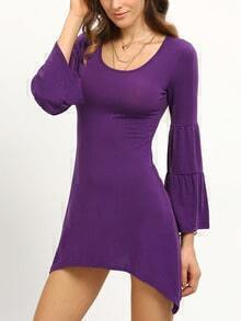 Tiered Bell Sleeve Asymmetric Dress