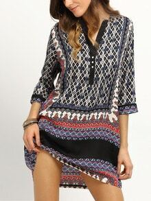Tribal Print Buttoned Front Tunic Dress