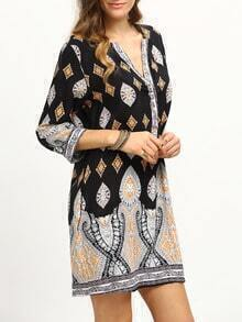 Paisley Print Buttoned Front Tunic Dress