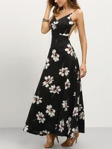 Flower Print Backless Cami Dress