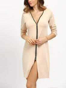 Zip Front Long Sleeve Dress