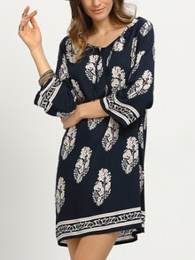 Leaf Print Tie-Neck Tunic Dress