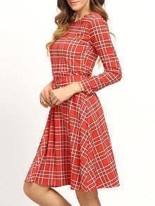 Red Plaid Sash Long Sleeve Midi Dress