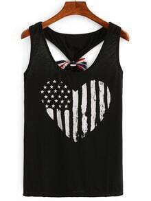 Stars and Stripes Print Bow Racerback Tank Top