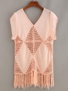 Fringe Crochet Insert Top - Pink