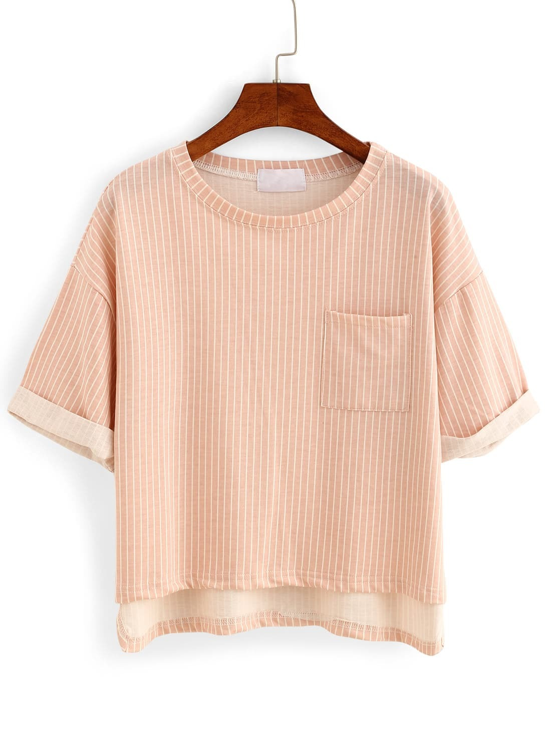 Vertical Striped High-Low Pocket T-shirt - PinkVertical Striped High-Low Pocket T-shirt - Pink<br><br>color: Pink<br>size: one-size
