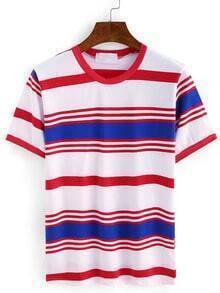 Color Block Striped T-shirt - Blue