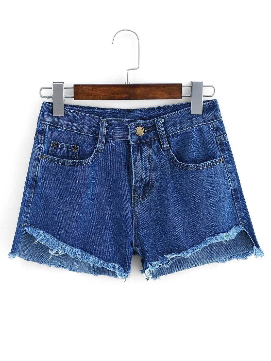 denim shorts mit fransen und taschen blau german shein. Black Bedroom Furniture Sets. Home Design Ideas