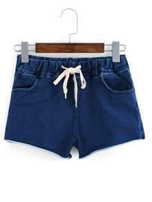 Frayed Drawstring Waist Denim Shorts