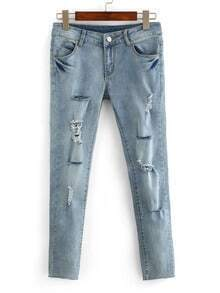 Frayed Light Blue Skinny Jeans