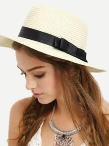 Ribbon Accent Straw Hat - Beige