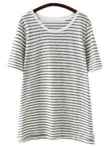Black White Short Sleeve Stripe Casual T-shirt
