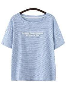 Blue Short Sleeve Letters Print Stripe T-shirt