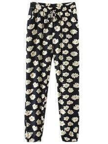 Multicolor Pockets Elastic Tie-waist Flowers Print Pants