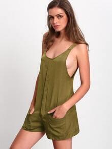Army Green Sleeveless Pockets Jumpsuit