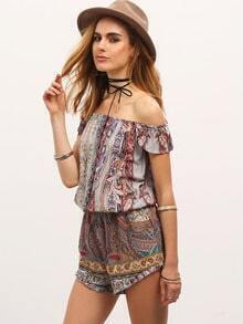 Multicolor Off The Shoulder Vintage Print Jumpsuit