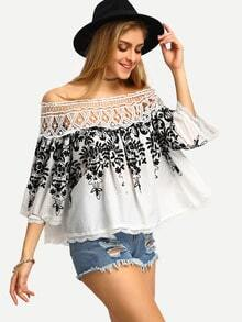 Black White Off The Shoulder Embroidered Blouse