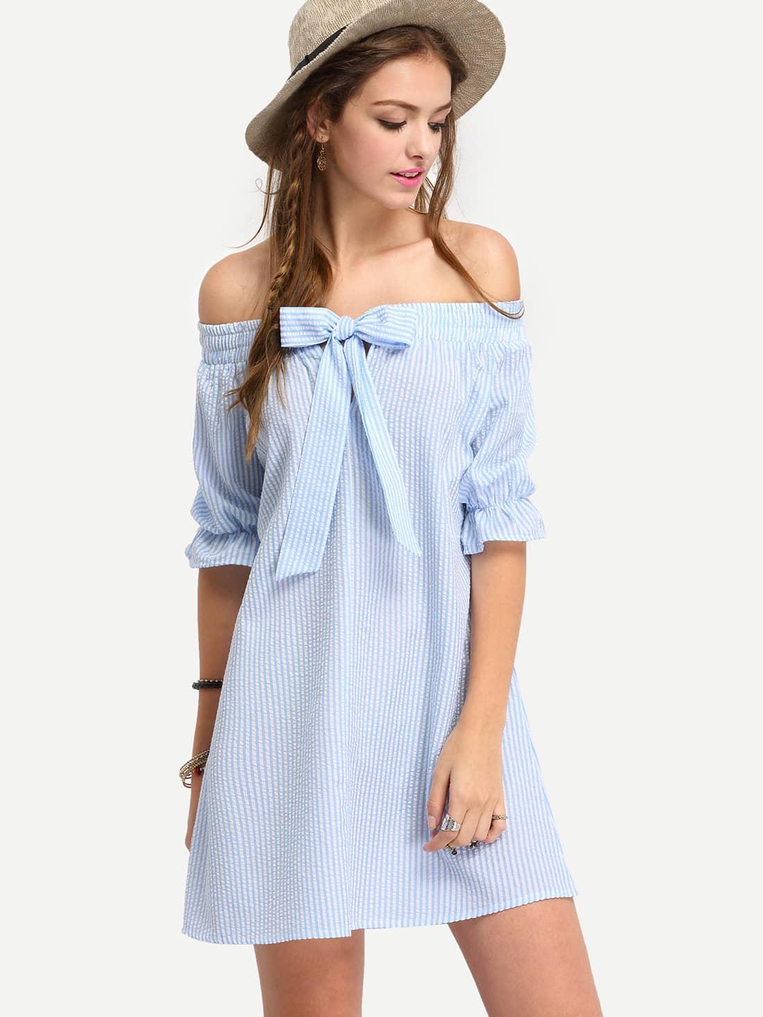 Фото Bardot Pinstripe Bow Detail Shift Dress. Купить с доставкой