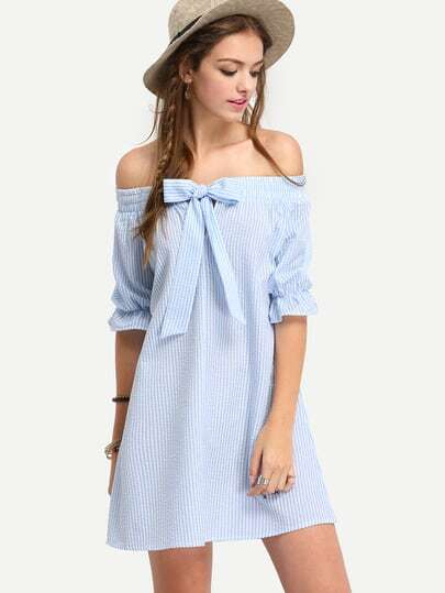 Bardot Pinstripe Bow Detail Shift Dress