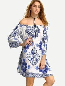 Multicolor Off The Shoulder Print Shift Dress