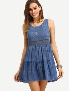Blue Sleeveless Pleated Patchwork Dress