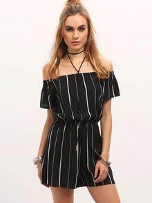 Black Off The Shoulder Vertical Striped Jumpsuit
