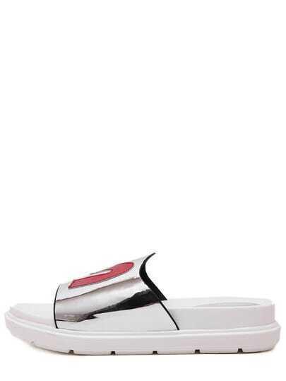 Silver Open Toe M Shape Upper Platform Slippers