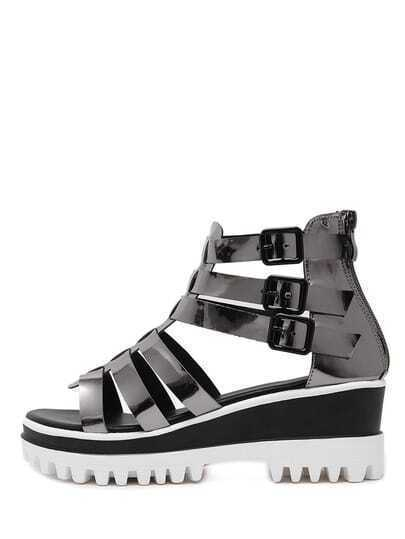Grey Lug Sole Metallic Gladiator Wedges