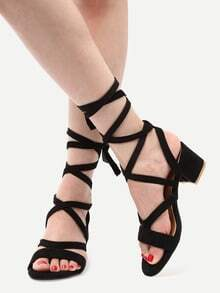 Black Faux Suede Lace Up Sandals
