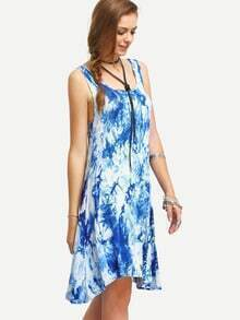 Blue Sleeveless Ikat Print Shift Dress