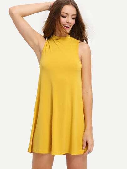 Yellow Sleeveless High Neck Dress