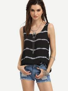 Black Ikat Print Striped Tank Top