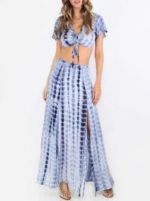 Multicolor Ikat Print Split Maxi Skirt