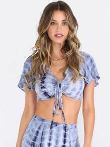 Multicolor Short Sleeve Ikat Print Tie Crop Blouse