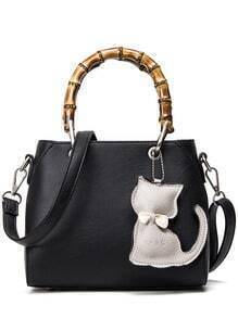 Bamboo Handle Tote Bag With Cat Bag Charm - Black