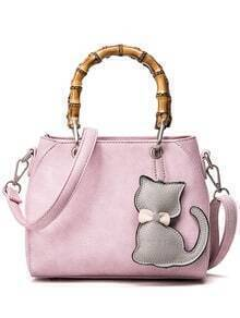 Bamboo Handle Tote Bag With Cat Bag Charm - Pink