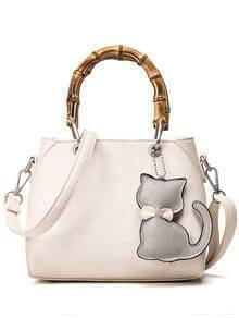 Bamboo Handle Tote Bag With Cat Bag Charm - Beige
