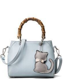 Bamboo Handle Tote Bag With Cat Bag Charm - Baby Blue
