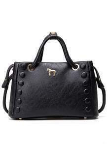 Metal Horse Accent Studded Tote Bag - Black