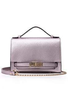 Embossed Faux Leather Turnlock Strap Bag - Purple
