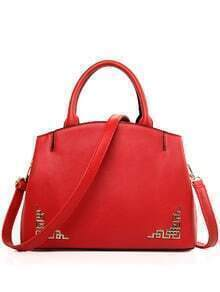 Cutout Metal Plate Embellished Tote Bag - Red