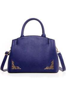 Cutout Metal Plate Embellished Tote Bag - Blue