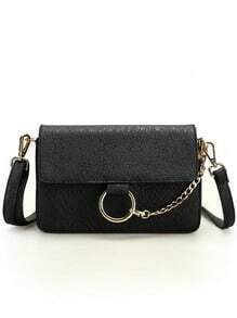 Embossed Faux Leather Chain Lock Flap Bag - Black
