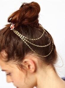 Bridal Rhinestone Hair Comb with Chain